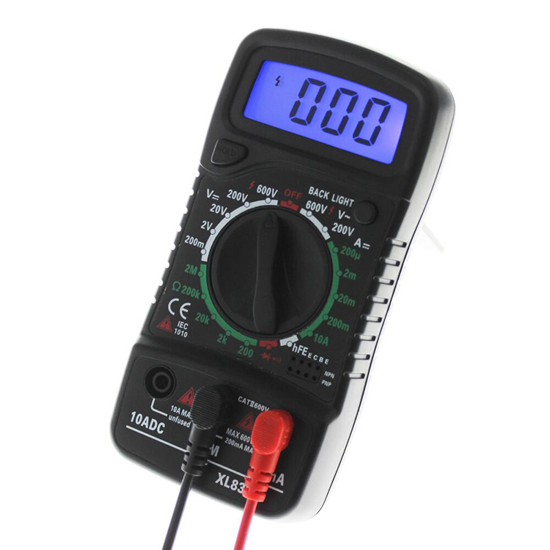 XL-830L Digital LCD Multimeter Voltmeter Ammeter ACDCOHM Volt Current Tester