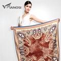 [Vianosi] más nuevo pañuelo de seda cuadrados bufanda de las mujeres bufandas suave impresión de la manera de gran tamaño del mantón del leopardo marca paquete va039