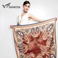 [Vianosi] mais novo bandana lenço de seda mulheres lenços quadrados moda macio pacote de impressão tamanho grande leopardo xale marca va039