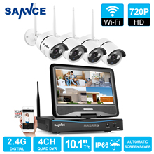 SANNCE 4CH HD Wireless CCTV System 10.1 LCD Displayer 720P 2.4G Wifi NVR HD Outdoor IR CUT IP Camera Home Security System