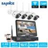 SANNCE 2 4G 10 1 LCD 4CH HD Wireless 720P Wifi NVR 1500TVL In Outdoor IR