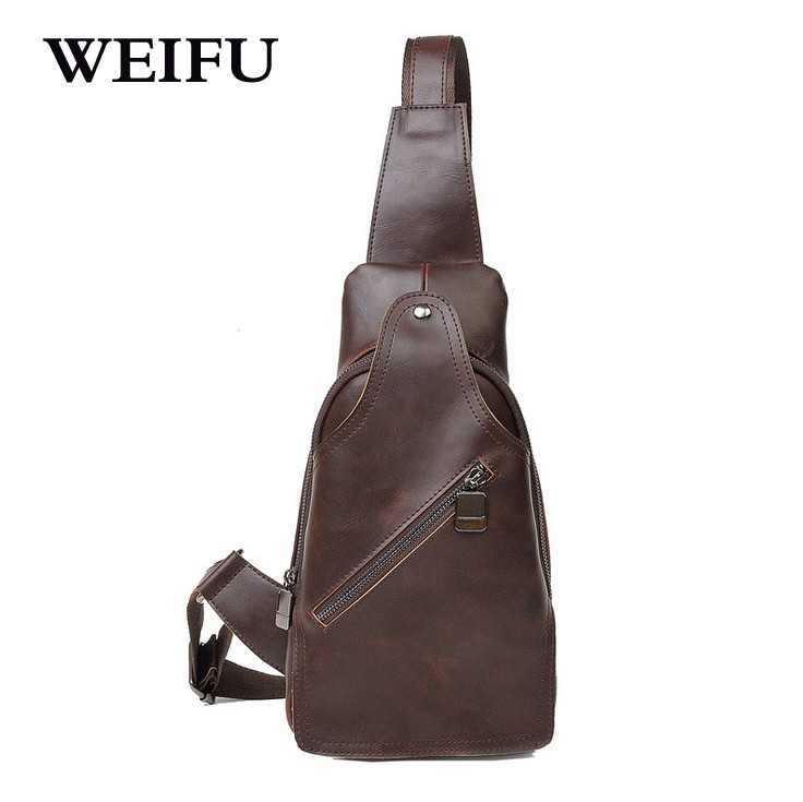 ФОТО Leisure men's chest pack crazy horse male bag fashion bag multi-functional small bag