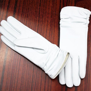 Image 4 - Leather gloves sheepskin gloves white female models elastic thin cashmere lining weatherization armband sets free shipping 2018