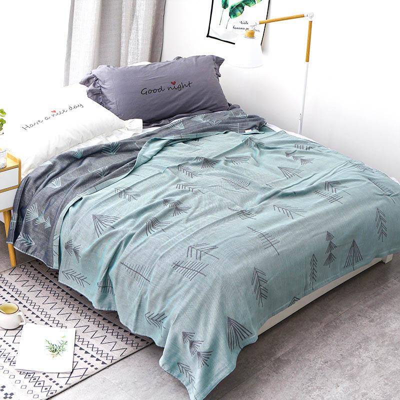 Хлопковое муслиновое летнее одеяло для кровати, дивана, дышащего стиля, мягкое одеяло для пикника, путешествий - Цвет: F