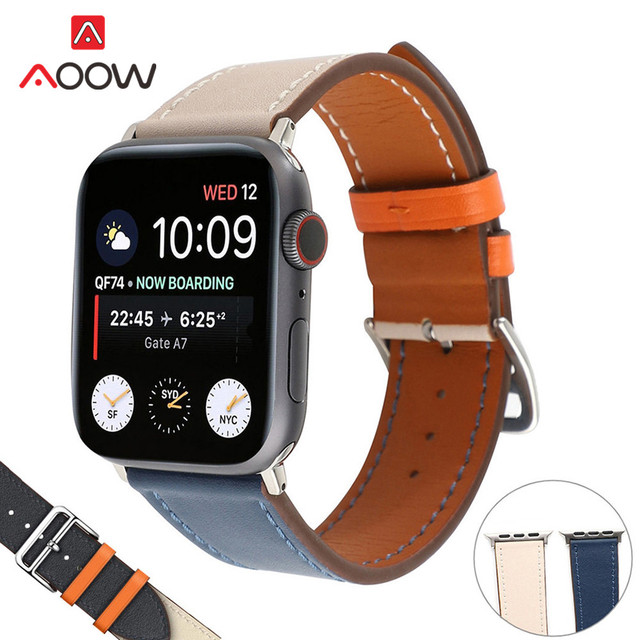 Double Tour Genuine Leather Watchband for Apple Watch 38mm 44mm Design Replacement Bracelet Band Strap for iwatch 123 4 Series
