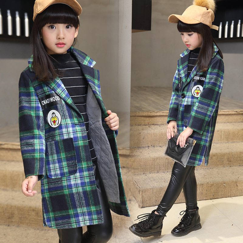 ФОТО Girls Fall and Winter Clothes Wool Cardigan Collar Windbreaker Children Personality Plaid Woolen Coat Kids Clothing Red Rose Red