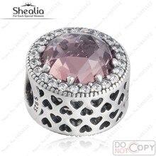 Abstracto calado granos del encanto 925 joyería de plata esterlina con Blush Pink Crystal & CZ perlas corazón adapta Shealia pulseras Diy