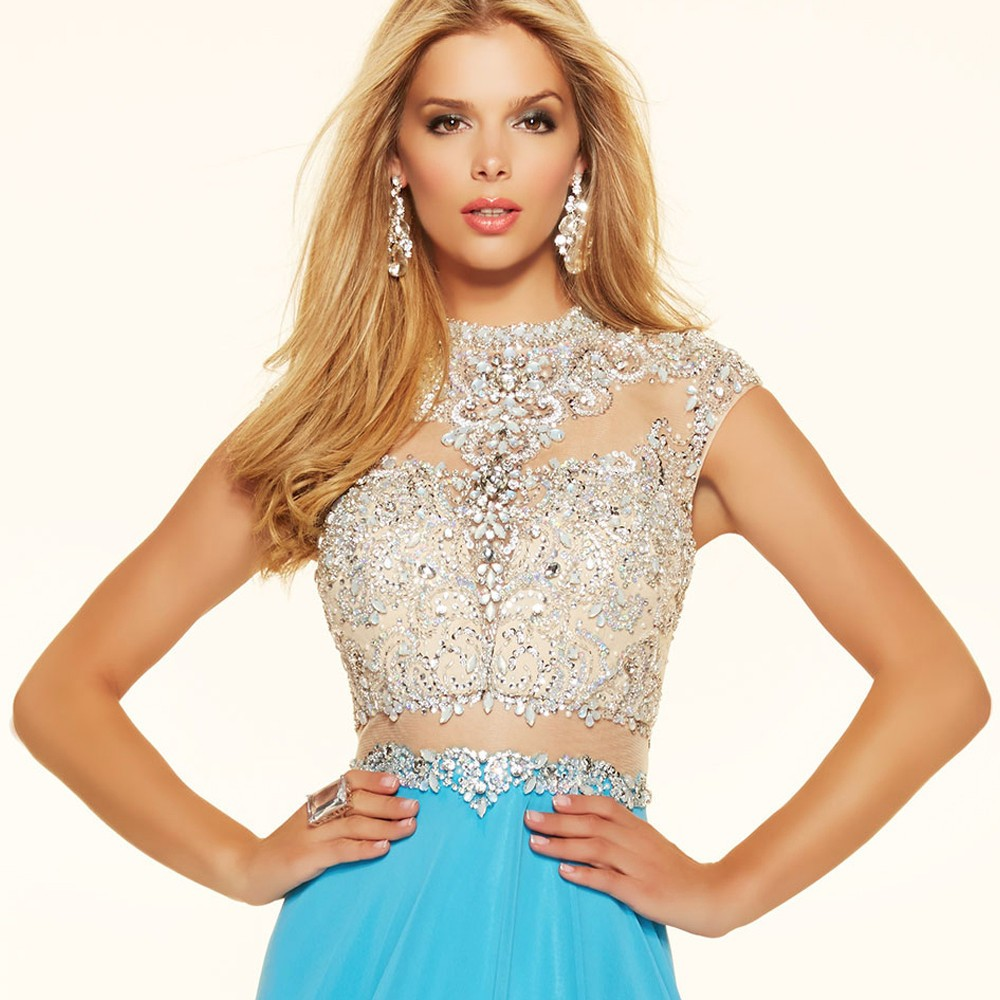 Sparkly Crystal Crop Top Flowing Split A-Line One Piece Evening Dress 3