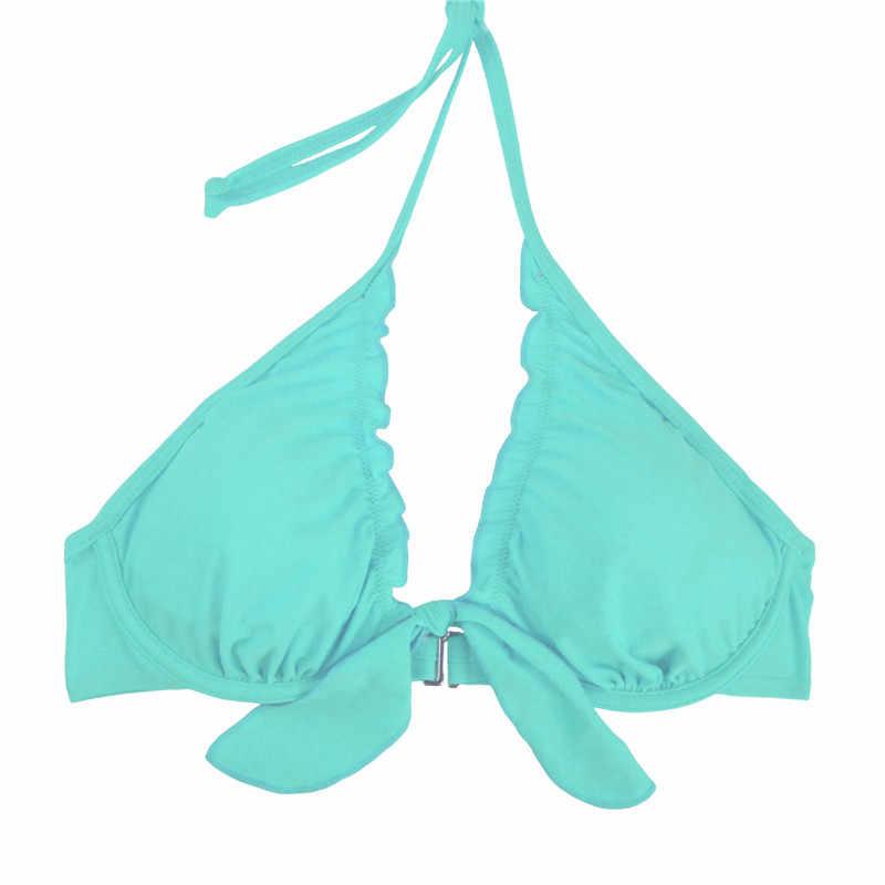 2019 kobiet Halter Pad Bikini Top Push Up stroje kąpielowe dziewczyny jednokolorowy strój kąpielowy Bikini drukuj Sexy Ruching biustonosz sportowy Biquini T609