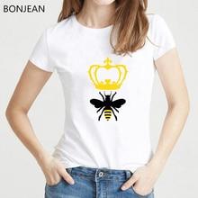 Summer women tshirt kawaii crown queen bee printed tee shirt femme white t shirt top female graphic t-shirt insect t shirts