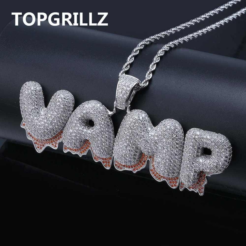 TOPGRILLZ Custom Name Baguette Letters Hip Hop Pendant Chain