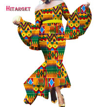 2017 African Mermaid Multiple Layers Dresses for Women Autumn Maxi Dashiki Off the Shoulder Dress Clothing WY2208
