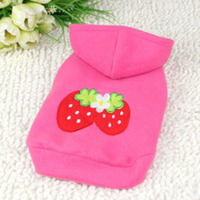 Pets Puppy Jackets Strawberry Pattern Hoodie Warm Coat Jacket Pets Clothes Coats
