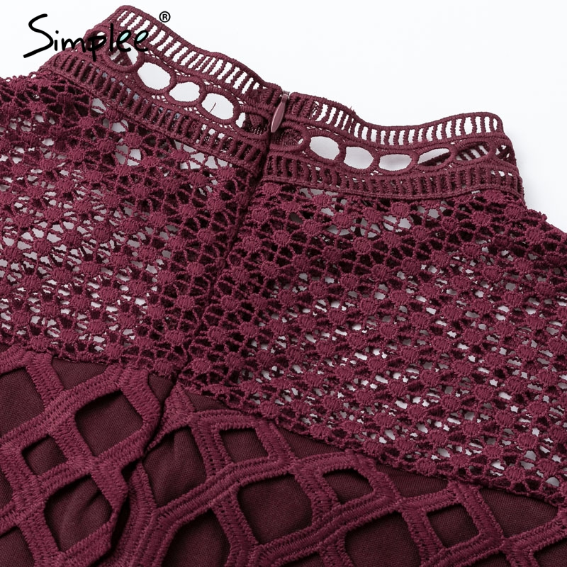 Image 5 - Simplee Elegant hollow out mesh lace women dress Ruffle slim autumn winter dress 2018 High waist long sleeve party sexy dressesDresses   -