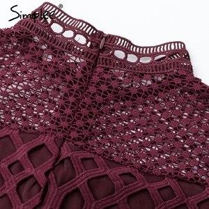 Image 5 - Simplee zarif hollow out mesh dantel kadın elbise fırfır ince sonbahar kış elbise 2018 yüksek bel uzun kollu parti seksi elbiseler