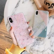 Platinum Splice Pink Marble Funda Glitter Phone Case for iphone X XS Max Xr 6 6S 7 8 Plus 10 Cover Soft TPU Bling Sequins Coque