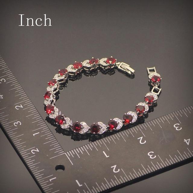 Sterling Silver Red Garnet Bracelet