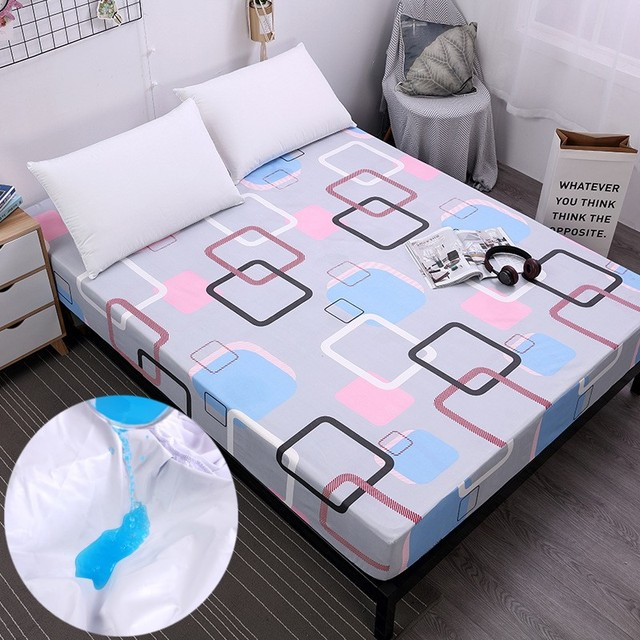 Plaid Printing Waterproof Mattress Cover Fitted Bed Sheet Bed Covers Sheets  With Elastic Band Mattress Protector