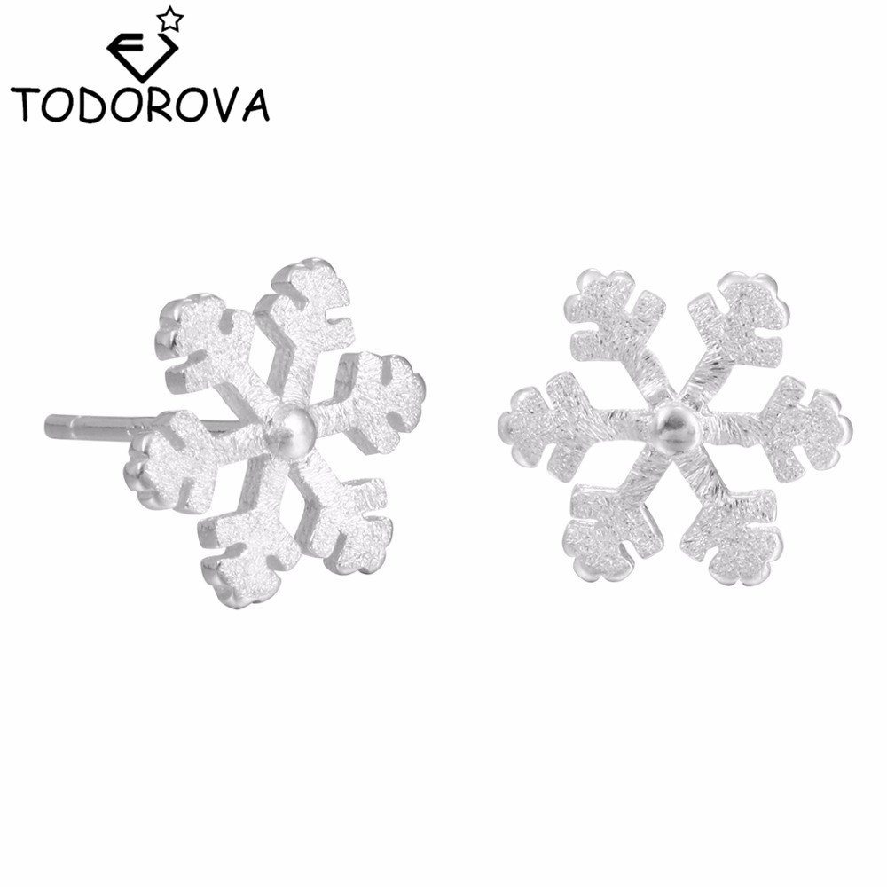 Todorova Exquisite Sliver Snowflake Stud Earrings for Women Wedding Jewelry Modern Beautiful Snow Flower Earrings Girls Gift