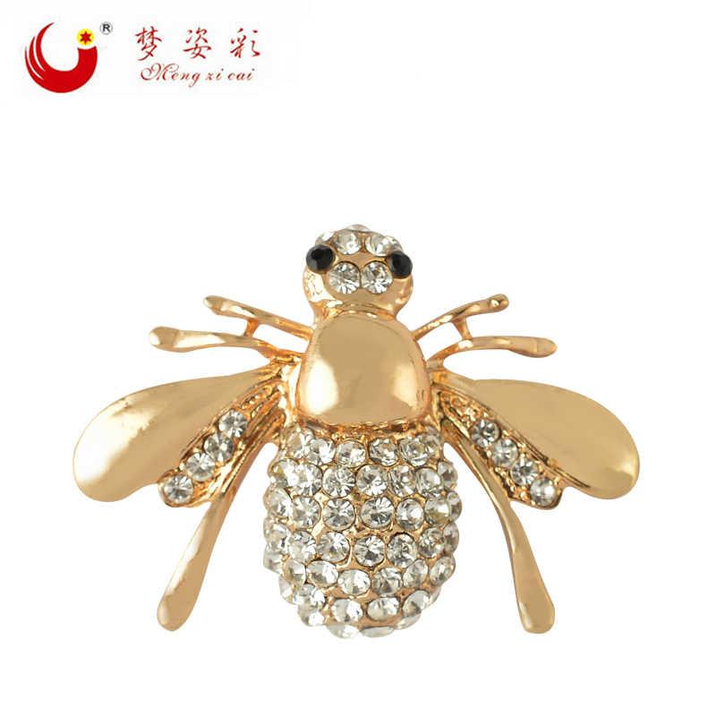 MZC แมลง Bee เข็มกลัดโลหะทอง Rhinestone Broach Mujer Bijoux Lapel Pin Strass Brosche Charm เครื่องประดับ