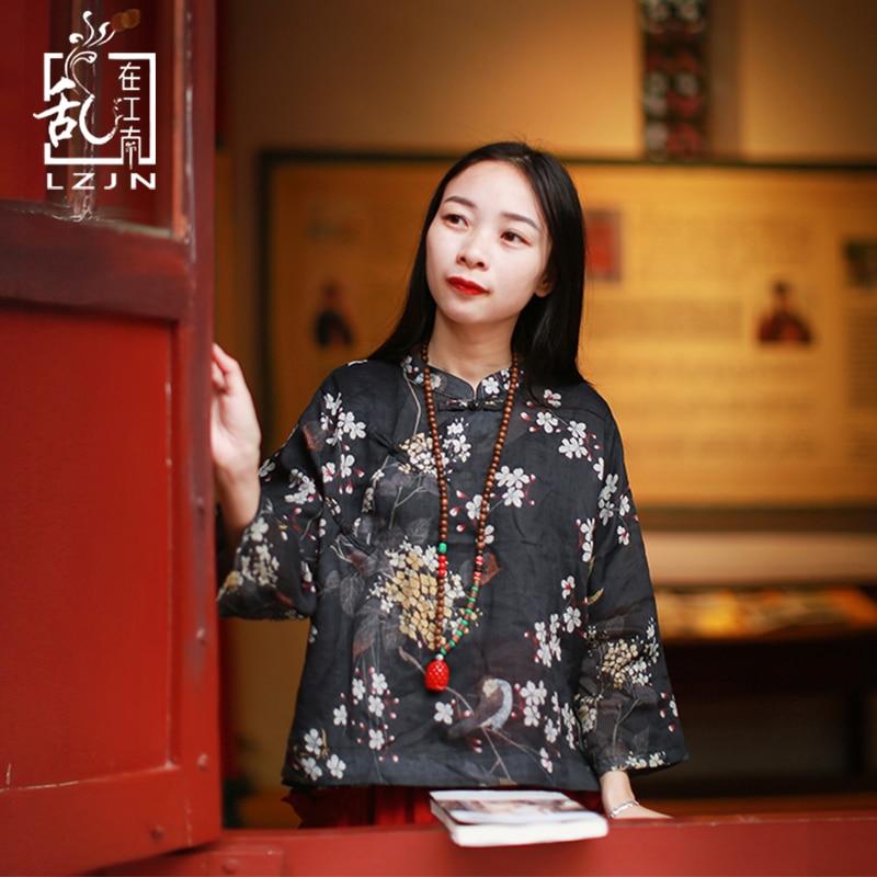 LZJN Summer Blouses for Women 2018 Tree Flower Bird Black Shirt Half Sleeve Traditional Chinese Cloth Linen Cheongsam Top Qipao