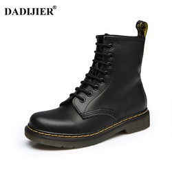 2018 Women Boots Dr boots High quality split Leather shoes High Top Motorcycle Autumn Winter shoe woman snow Boots ST50