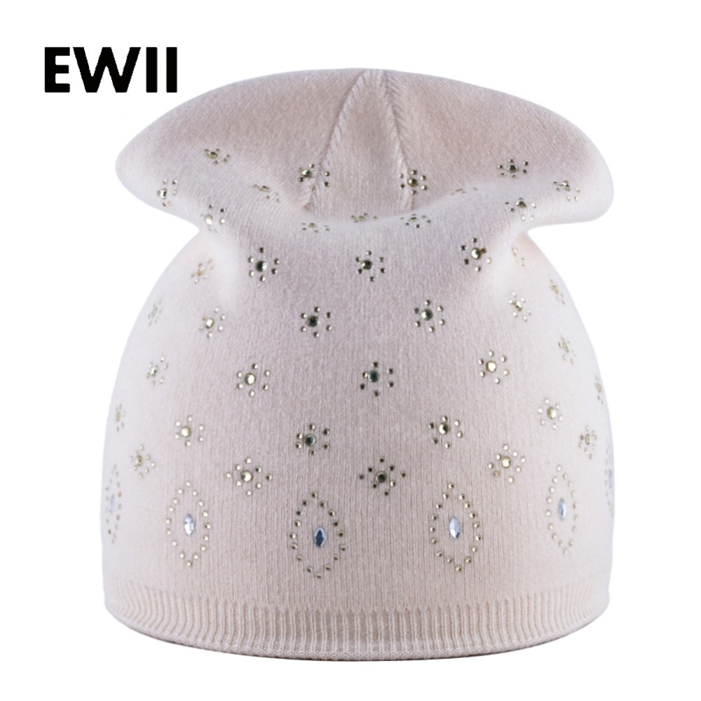 Girl double layer cap women winter beanies hat skullies ladies rabbit wool hats for women rhinestones knitted beanie caps gorros animal printing new plus side men and women with the double layer of warm ladies pile heap cap skullies hat knitted hat stripe