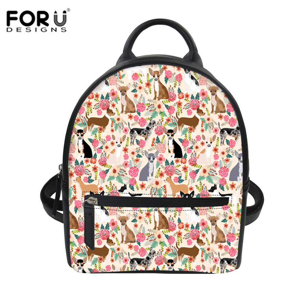 FORUDESIGNS Women PU Leather Backpack Cute Chihuahuas Dogs Flower Print School Bags For Girls Top-handle Daypack Mochila Escolar