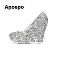 Apopeoブランドスライバーブリンブリンウェッジ靴女