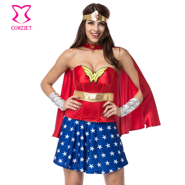 Red Satin Wonder Woman Corset With Blue Skirt Supergirl Dress Cosplay Superhero Costume Sexy Costumes For  sc 1 st  AliExpress.com & Red Satin Wonder Woman Corset With Blue Skirt Supergirl Dress ...