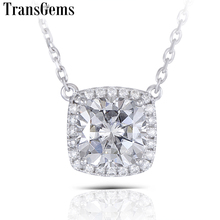 Transgems Solid 14K 585 White Gold Center 1ct 6MM Cushion Cut F Color Moissanite Pendant Necklace for Women Wedding Halo