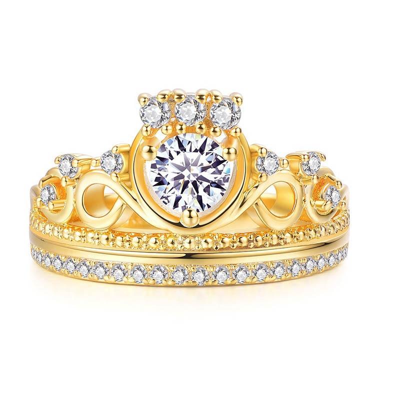 تيجان ملكية  امبراطورية فاخرة -font-b-Gold-b-font-Color-Ring-for-Women-Rose-font-b-Gold-b-font