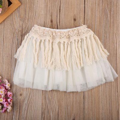 2017 Newborn Toddler Baby Girls Tutu Skirt Dance Hollow Lace Long Tassel Tulle Photo Prop Costume Skirt