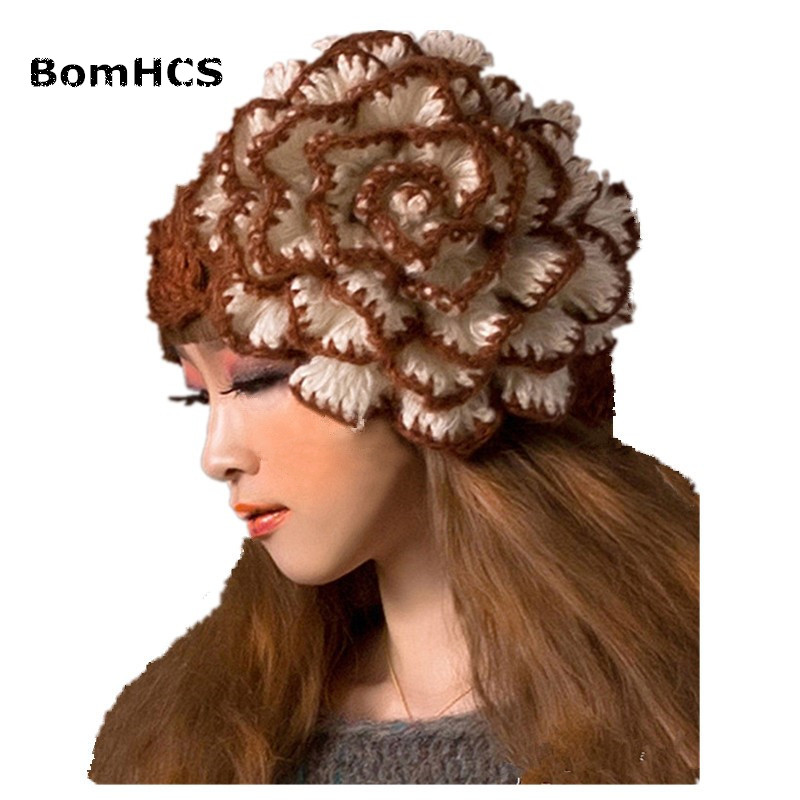 BomHCS Cute Big Flower Beanie Winter Lady's Warm Crochet Knitted Hat 10% Handmade