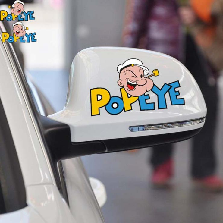 2 X POPEYE Car Rearview Mirror Sticker Ans Decal for Ford Focus Honda Volkswagen Polo Golf Opel Kia Hyundai Renault Peugeot