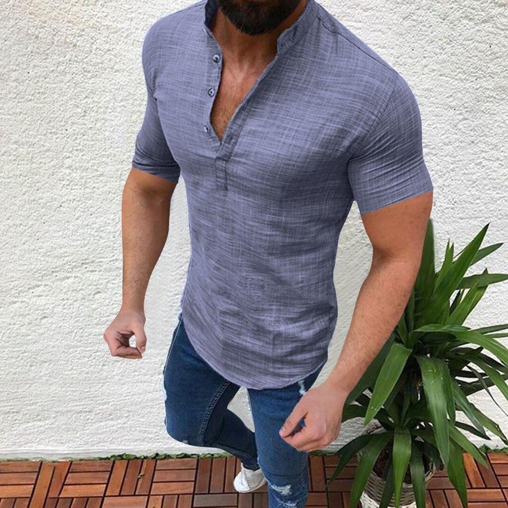 Men's Casual Blouse Cotton Linen shirt Loose Tops Short Sleeve Tee Shirt S-2XL Spring Autumn Summer Casual Handsome Men Shirt 11