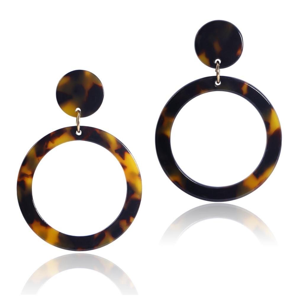 Newest Woman 39 s Boho Big Earrings Acetate Geometric Hollow Earrings Tortoise Shell Dangle Drop Earrings Round Circle Drop Earring in Drop Earrings from Jewelry amp Accessories