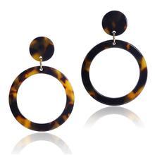 цена на Newest Woman's Boho Big Earrings Acetate Geometric Hollow Earrings Tortoise Shell Dangle Drop Earrings Round Circle Drop Earring