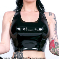 Black Sexy Latex Crop Top With Tank Back Rubber Shirt Top Clothes YF 0145