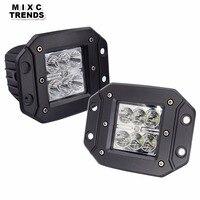 2Pcs 18W LED Work Light Flush Mount 12V 24V Front Rear Fog Lights 4X4 Offroad Trailer