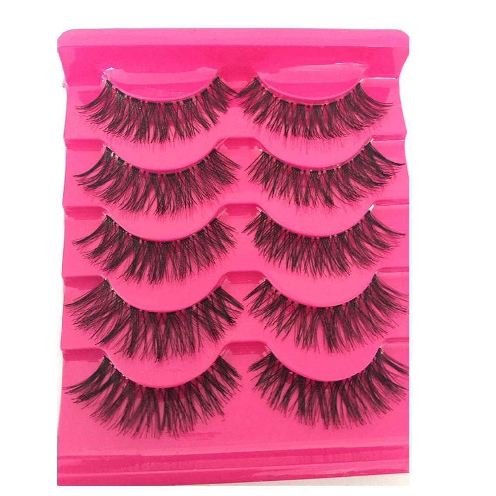 5 Pairs Women Fashion Soft Natural Cross Fake Eye Lashes Handmade False Eyelashes Extension Charming Eyes Makeup Tools Maquiagem