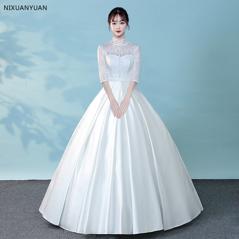 Lace Halter Wedding Gown: 2019 Ball Gown Halter Wedding Dress Floor Length Lace Bow
