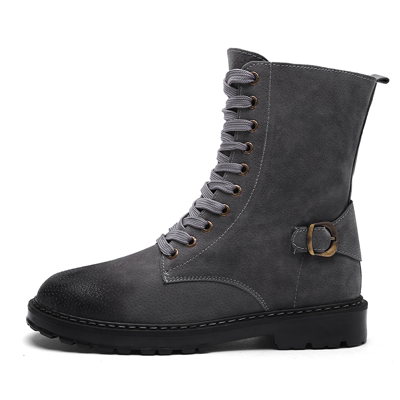 LAISUMK 2019 Winter Solid Color Leather Europe Style Mens Martin Boots Working Boots Good Quality Luxury High Heel Shoes Males in Basic Boots from Shoes