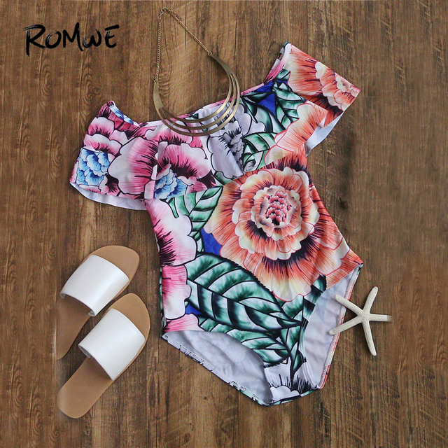 Romwe Sport Flower Bardot Neckline Floral Print Swimsuit Women Short Sleeve  Push Up One Pieces Summer Sexy Beach Monokinis 1613584ad1bc