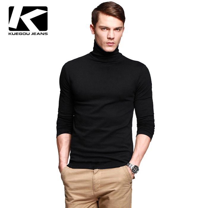 Hot selling men 39 s brand cotton turtleneck t shirt thicken for Turtleneck under t shirt
