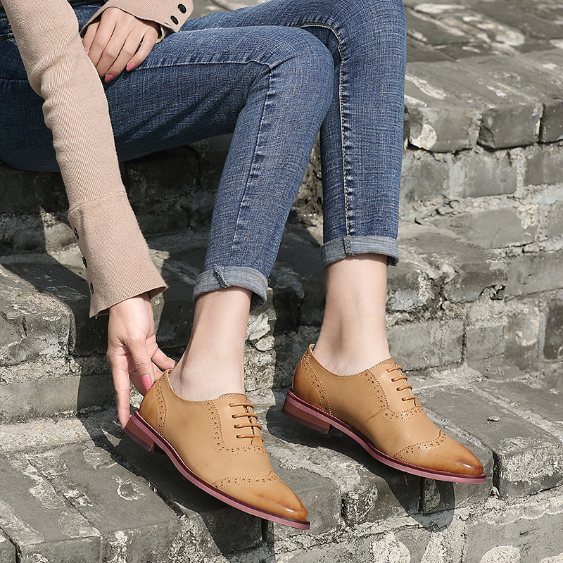 Luxury Brand Oxfords Shoes Woman 2019 Lady Derby Shoes Natural Leather European New Arrival Female Casual