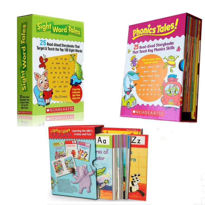 Juego de cuentos de palabras de aprendizaje 25 piezas de cuentos de fonética cuentos Alpha niños libro de fotos de libros de cuentos de palabras en inglés juguetes para bebés libro educativo
