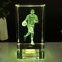 NBA basketball star Kyrie Irving model K9 Crystal lightl ornaments fans gift 3D Laser Engraved Crafts LED Small Night Light