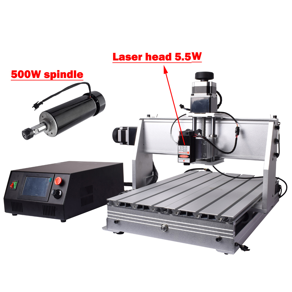 Laser CNC router 3040 milling carving 3 axis engraving machine 5.5W laser head ER11 collet wood router with limit switch