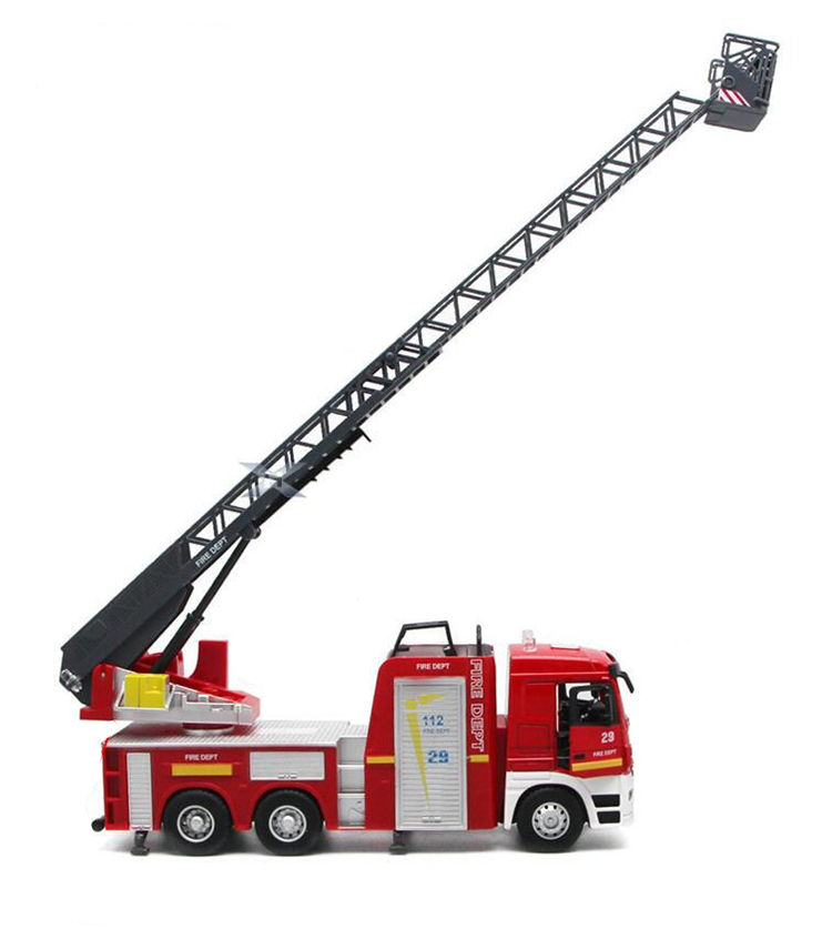 [Funny] 1:32 Lift Ladder Fire Fighting Truck Toy Firemen Open Door Light And Sound Alloy Car Model Kids Child Gift Traffic Toy